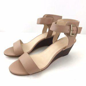 Nine West Wedge Sandal 9.5M Beige Nude Ankle New